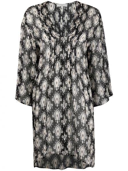 Расклешенное черное платье мини с вырезом Antonelli