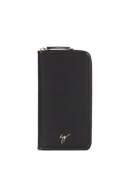 Skórzany czarny portfel skórzany z kieszeniami z gniazdem Giuseppe Zanotti