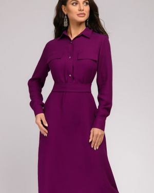 Расклешенное платье на пуговицах с воротником с карманами 1001 Dress