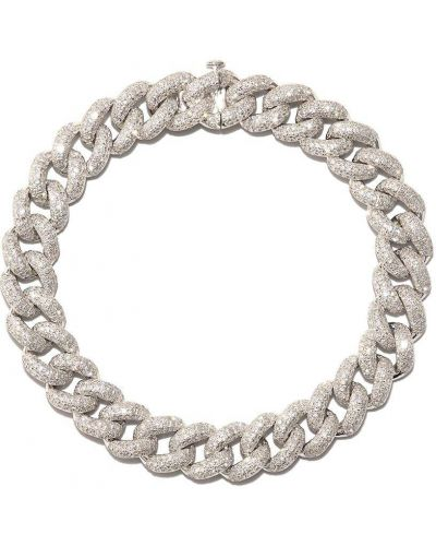 Bransoletka łańcuch srebrna - biała Shay