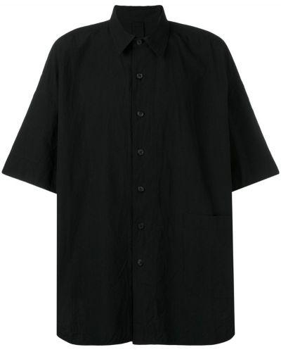 Классическая черная рубашка с короткими рукавами оверсайз на пуговицах Forme D'expression