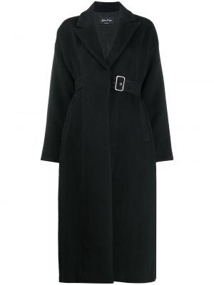 С рукавами черное шерстяное длинное пальто с пряжкой Andrea Ya'aqov
