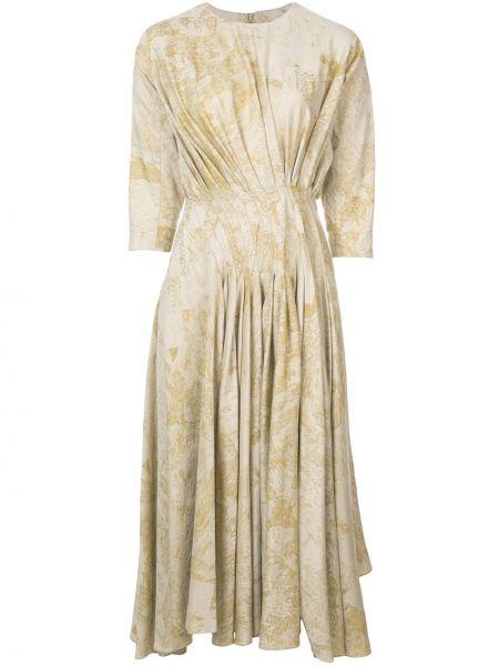 Желтое расклешенное платье миди с вырезом на молнии Divka