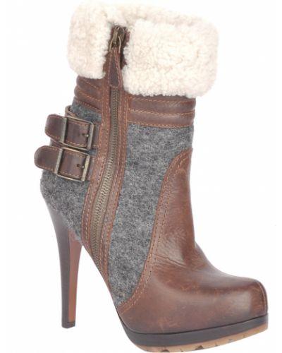 Коричневые кожаные ботинки Etro