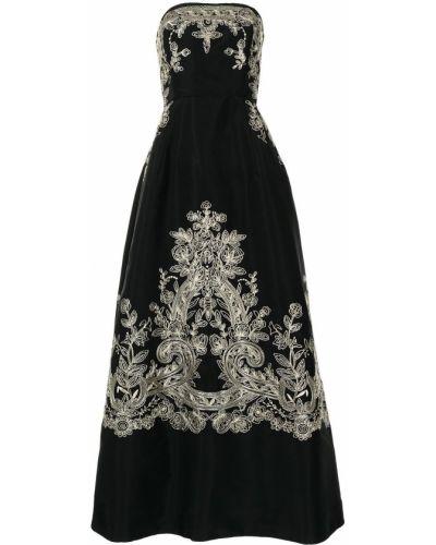 Вечернее платье с вышивкой - черное Oscar De La Renta