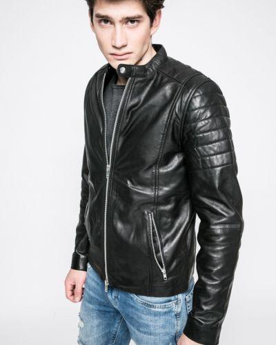 Кожаная куртка легкая черная Casual Friday