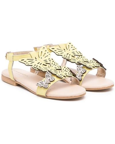 Żółte sandały skorzane peep toe Charabia