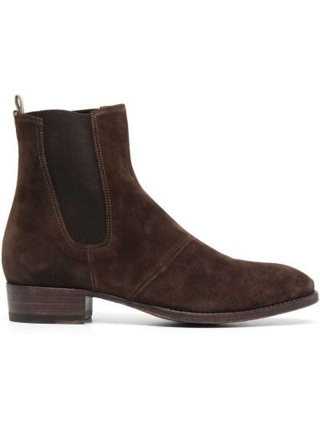 Brązowe ankle boots skorzane Officine Creative
