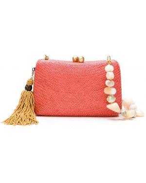 Красная соломенная сумка на цепочке Serpui