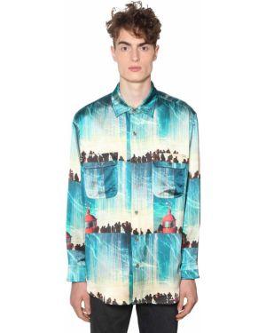 Klasyczna niebieska klasyczna koszula z jedwabiu Lost Daze Ca