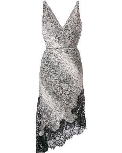 Платье серое с принтом Gold Hawk