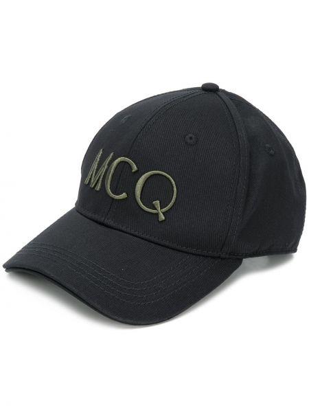 Czarny kapelusz z haftem Mcq Alexander Mcqueen