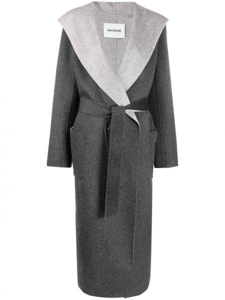 Серое шерстяное длинное пальто с капюшоном Ava Adore