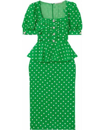 Шелковое зеленое платье миди с подкладкой Alessandra Rich