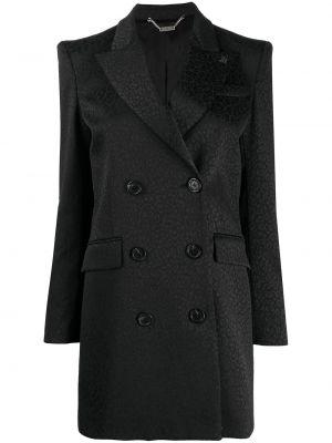 Czarny długi płaszcz bawełniany z długimi rękawami John Richmond