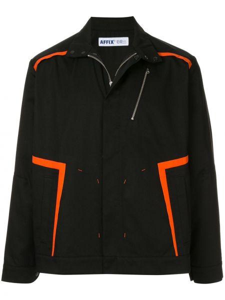 Классическая черная классическая рубашка с воротником на молнии Affix