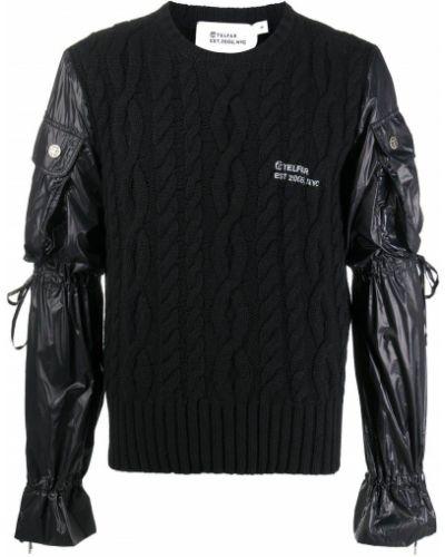 Кашемировый прямой черный вязаный джемпер с карманами Telfar