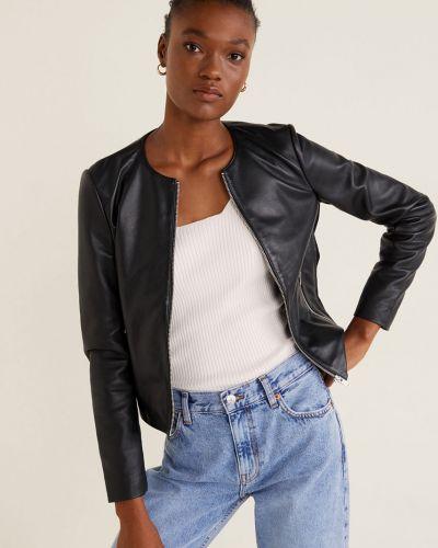 Прямая черная облегченная кожаная куртка Mango