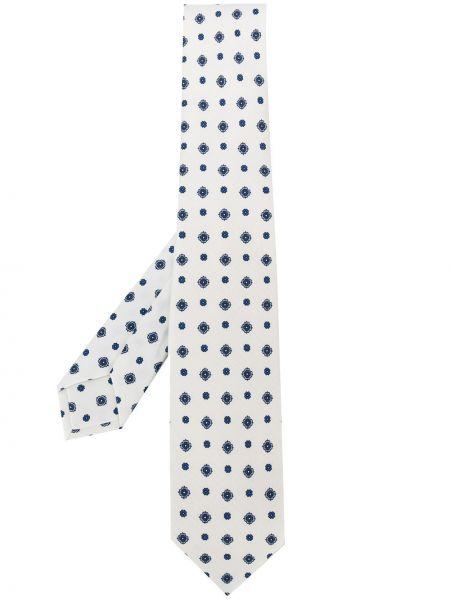 Biały krawat z jedwabiu w szpic Barba