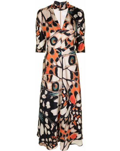 Прямое шелковое платье миди с вырезом Ginger & Smart