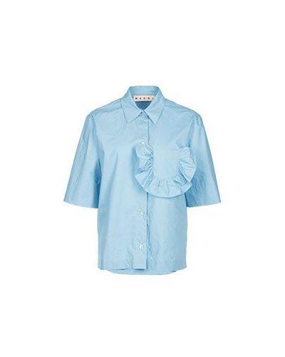 Голубая блузка хлопковая Marni