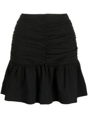 С завышенной талией плиссированная черная юбка мини Ganni