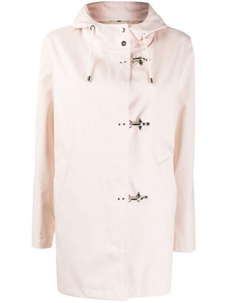 Хлопковая розовая длинное пальто с капюшоном Fay