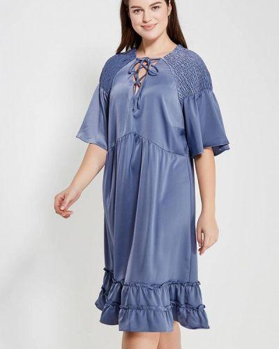 Коктейльное платье весеннее синее Lost Ink Plus
