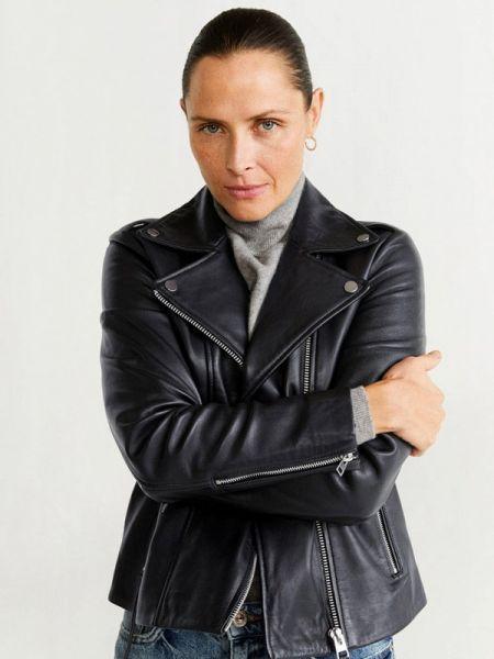Кожаная черная кожаная куртка Mango