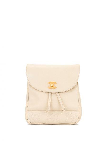 Skórzany plecak beżowy czarny Chanel Pre-owned