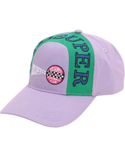 Fioletowy kapelusz bawełniany z haftem Kidsuper Studios