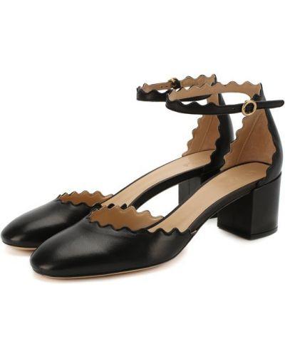 Кожаные туфли с ремешком на каблуке Chloé