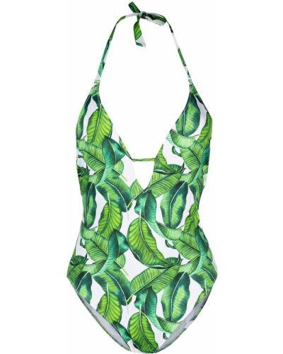 Зеленый слитный купальник без рукавов эластичный Mc2 Saint Barth