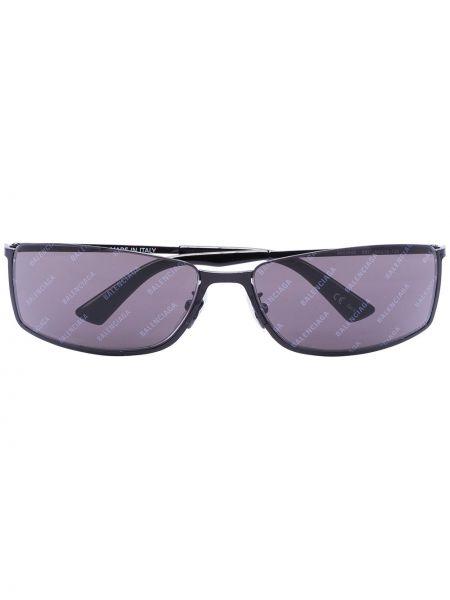 Czarne okulary z akrylu z printem Balenciaga Eyewear