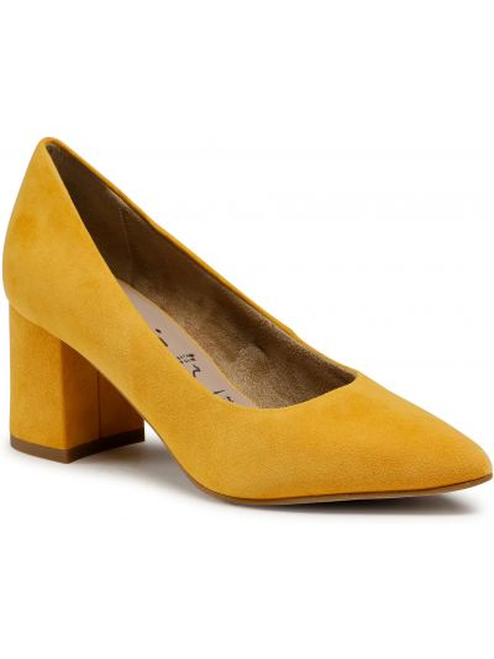 Półbuty skórzane - żółte Tamaris