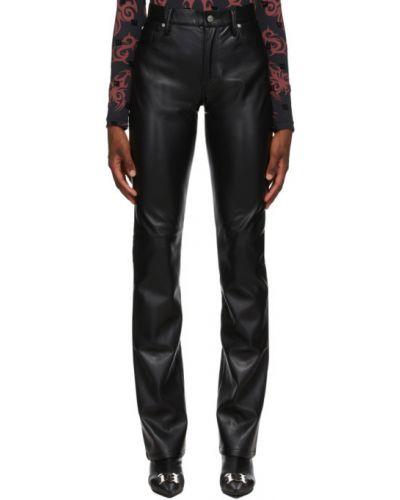 Prosto czarny spodnie o prostym kroju z kieszeniami z prawdziwej skóry Misbhv