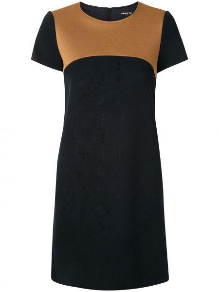 Акриловое темно-синее прямое платье мини с короткими рукавами Paule Ka