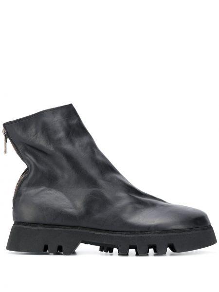 Skórzany czarny buty okrągły okrągły nos Guidi