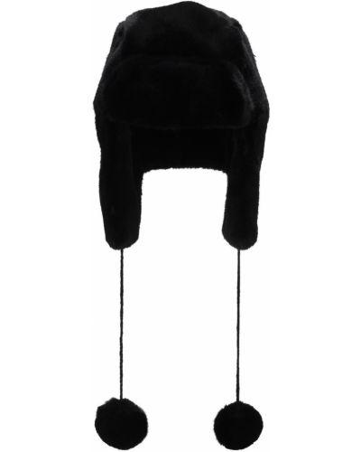 Czarny kapelusz prążkowany sztuczne futro Bomboogie
