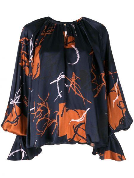 Блузка с длинным рукавом шелковая в полоску Roksanda