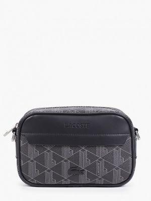 Черная кожаная сумка через плечо Lacoste