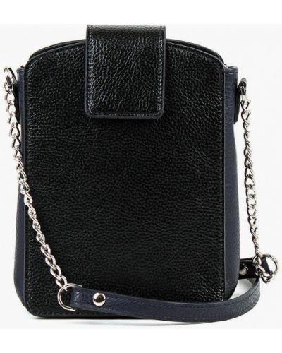 Кожаная черная сумка через плечо медведково