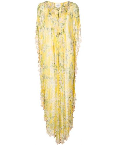 Платье макси с вышивкой с цветочным принтом Hemant And Nandita