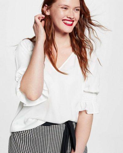Белая блузка с рюшами Violeta By Mango