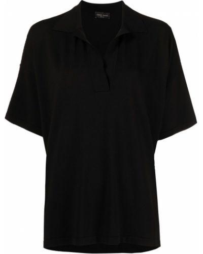 Черная рубашка с короткими рукавами с воротником Roberto Collina