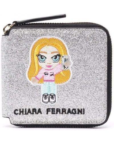 Серебряный кошелек для монет на молнии с вышивкой Chiara Ferragni Kids