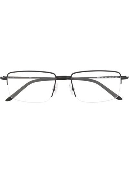Czarny oprawka do okularów metal prostokątny za pełne Nike