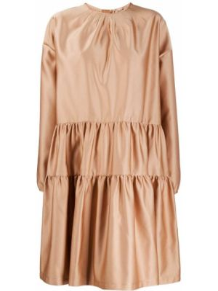 Розовое расклешенное платье с вырезом на молнии N°21