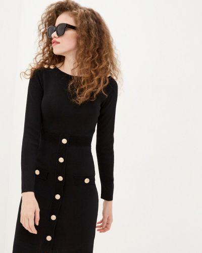 Трикотажное вязаное черное платье Tantra