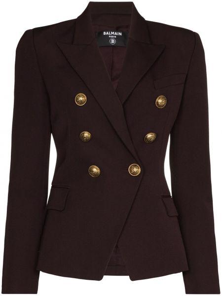 Шерстяной коричневый пиджак двубортный Balmain